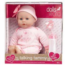 Beszélő és alvó puha baba - rózsaszín ruhában, 38 cm